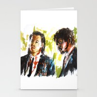 pulp fiction Stationery Cards featuring Pulp Fiction by Miquel Cazanya