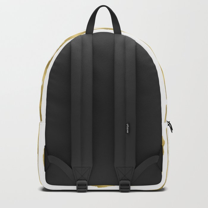 Small uneven hand painted gold stripes on clear white - vertical pattern Backpack
