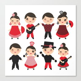 Spanish flamenco dancer. Kawaii cute face with pink cheeks and winking eyes. Gipsy Canvas Print