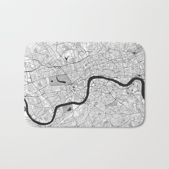 London Map Gray Bath Mat