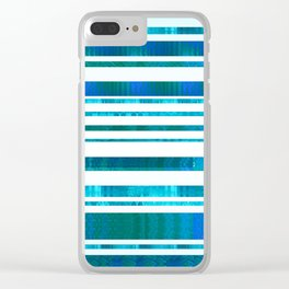 Chillout Stripy (blue-green) Clear iPhone Case