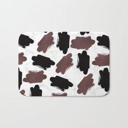Burgundy black white marble abstract brushstrokes Bath Mat
