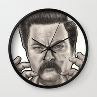 ron swanson Wall Clocks featuring Ron Swanson by Leslie @ PoeDesigns.com
