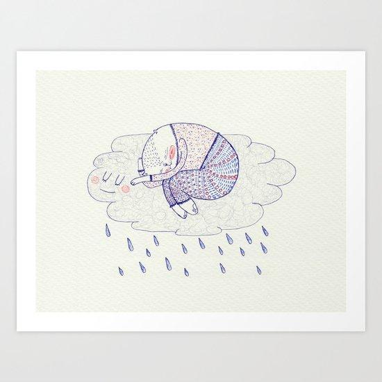 rainy cat Art Print