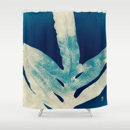 Green Fern at Midnight Bright, Navy Blue Shower Curtain