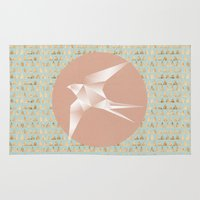 gold foil Area & Throw Rugs featuring Origami Bird with Gold Foil  by The Design Jedi