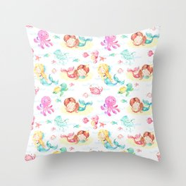 Watercolour Mermaid sleeping turtle octopus crab jellyfish fish seahorse blue yellow pink Throw Pillow