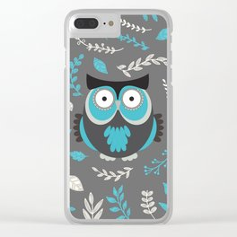 BLUE OWL AND LEAVES Clear iPhone Case