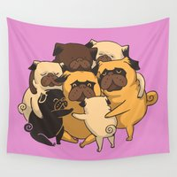 hug Wall Tapestries featuring Pugs Group Hug by Huebucket