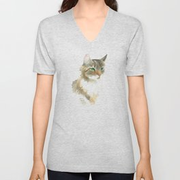 Supremely innocent, tragically misunderstood - brown tabby cat 1 Unisex V-Neck