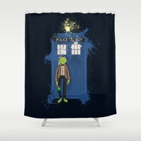 kermit Shower Curtains featuring Doctor Who Kermit by Roe Mesquita