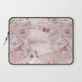 Nostalgic Letter and Postcard Collage Soft Pink Laptop Sleeve