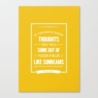 roald dahl Canvas Prints featuring Roald Dahl quote - Yellow by Dickens ink.