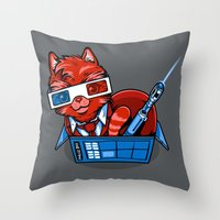 mew Throw Pillows featuring Doctor Mew by harebrained