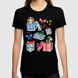 Beagles, Boxes & Bows on Teal T-shirt