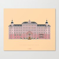 budapest hotel Canvas Prints featuring Budapest Hotel by Fred Birchal