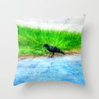 crow Throw Pillows featuring Crow by Geni