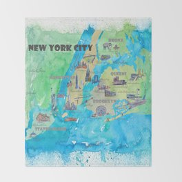 New York City Favorite Travel Map with Touristic Highlights Throw Blanket