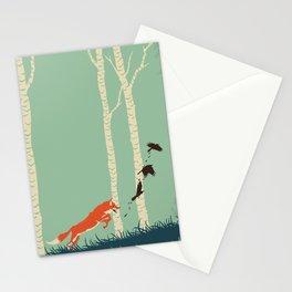 Fox Chasing Birds Stationery Cards