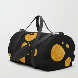"""Golden dots & black background"" Duffle Bag"