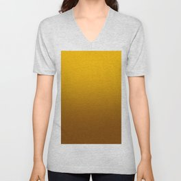 Amber Orange to Chocolate Brown Linear Gradient Unisex V-Neck