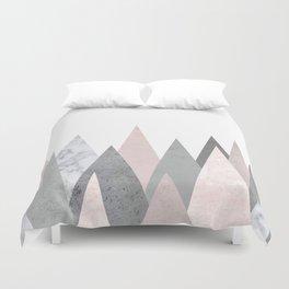 BLUSH MARBLE GRAY GEOMETRIC MOUNTAINS Duvet Cover