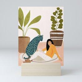 Girl and leopard Mini Art Print