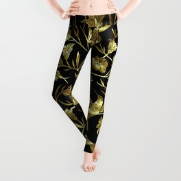 Black and gold foil humming birds & leafs pattern Leggings