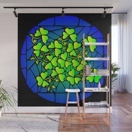 Stained Glass Shamrocks Wall Mural
