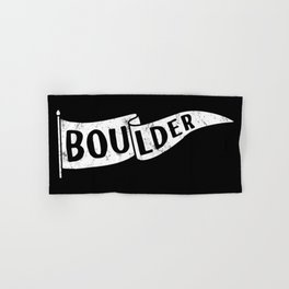 Boulder Colorado Pennant Flag B&W // University College Dorm Room Graphic Design Decor Black & White Hand & Bath Towel