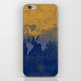 world map wanderlust forest yellow iPhone Skin