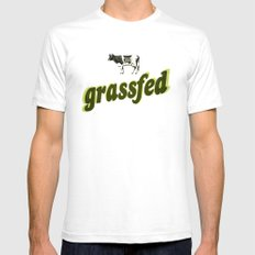 Grassfed SMALL White Mens Fitted Tee
