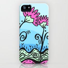 Three Spring Flowers - Blue iPhone Case