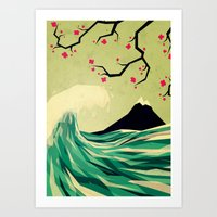 japanese Art Prints featuring falling in love by Yetiland
