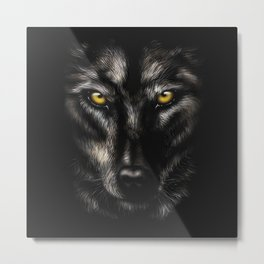 hand-drawing portrait of a black wolf on a black background Metal Print