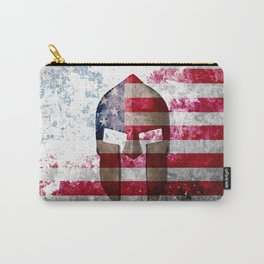 Molon Labe - Spartan Helmet Across An American Flag On Distressed Metal Sheet Carry-All Pouch