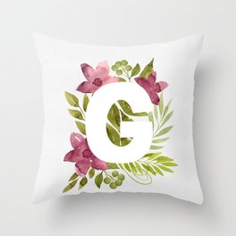 Monogram G with red waercolor flowers and green leaves. Floral letter G. Botanical illustration. Throw Pillow