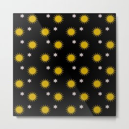 Stars and suns pattern Metal Print