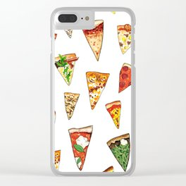 Pizza Pattern Clear iPhone Case