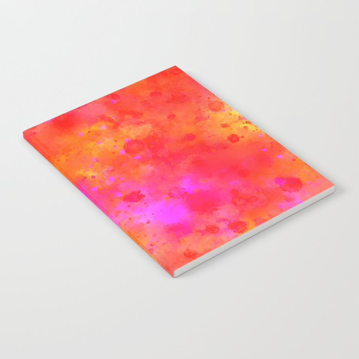 Watercolor Painting Bright Red & Summer Pink Abstract Paint Splashes Notebook