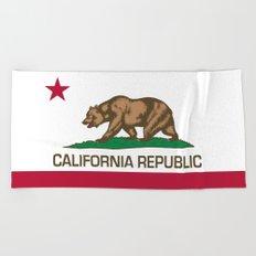 California Republic Flag - Bear Flag Beach Towel