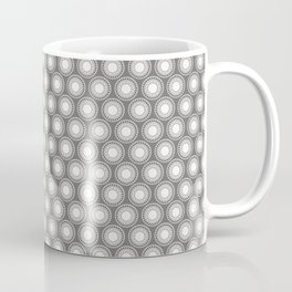 White Polka Dots and Circles Pattern on Pantone Pewter Gray Coffee Mug