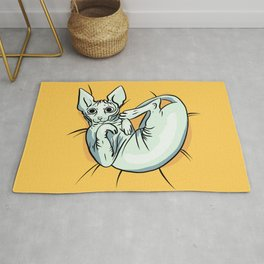 Playful Sphynx Kitty - Curled Up Nude Cat - Wrinkly Nude Cat - Yellow Rug
