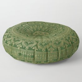 Mandala Royal - Green and Gold Floor Pillow