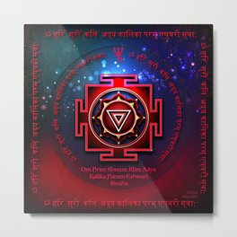 Kali Yantra with the Great Fifteen-Syllable Mantra Metal Print