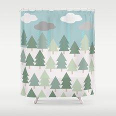 Pacific Northwest Tree and Rain Scene - Portland, PDX, Seattle, Washington, Oregon Shower Curtain