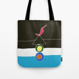 red bird on birdhouse Tote Bag