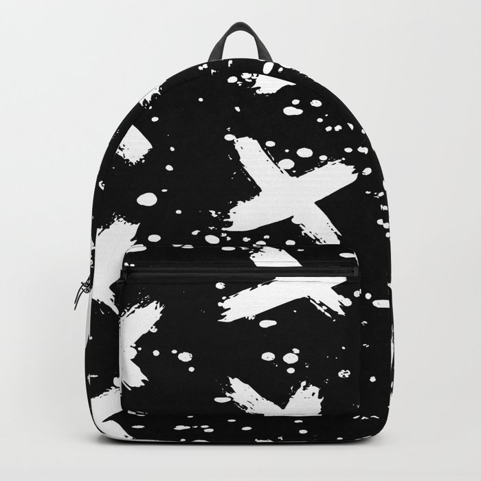 X Paint Spatter Black and White Backpack