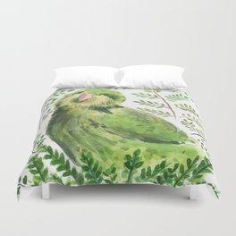 Kakapo in the ferns Duvet Cover