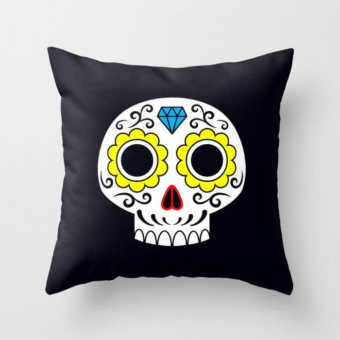 Sugar skull for a cake Throw Pillow